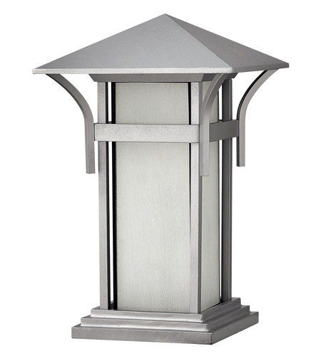 Hinkley 2576TT-GU24 Harbor 1 Light 17 inch Titanium Pier Mount Lantern in Etched Seedy, GU24, Seedy Glass photo