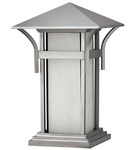 Hinkley 2576TT Harbor 1 Light 17 inch Titanium Outdoor Pier Mount in Etched Seedy, Incandescent photo