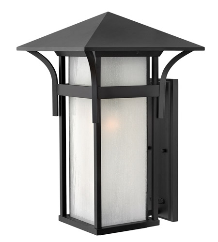 Hinkley 2579SK-GU24 Harbor 1 Light 21 inch Satin Black Outdoor Wall in Etched Seedy, GU24, Seedy Glass photo