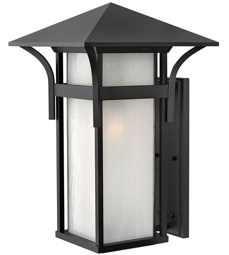 Hinkley 2579SK Harbor 1 Light 21 inch Satin Black Outdoor Wall Mount in Etched Seedy, Incandescent photo