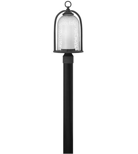 Hinkley 2611DZ-LED Quincy LED 19 inch Aged Zinc Outdoor Post Mount, Seedy Outer Glass photo