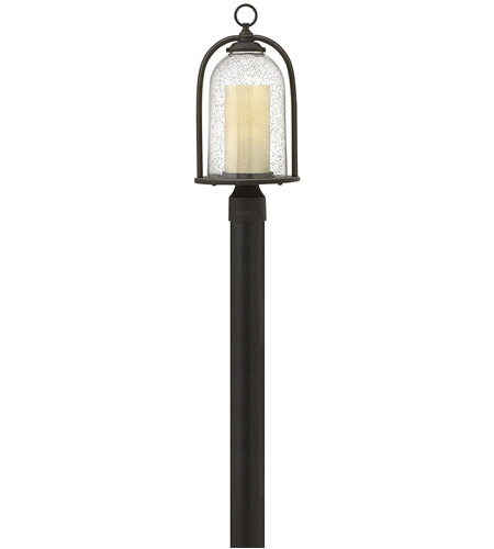 Hinkley 2611OZ-LED Quincy LED 19 inch Oil Rubbed Bronze Outdoor Post Mount, Clear Seedy and Amber Glass photo