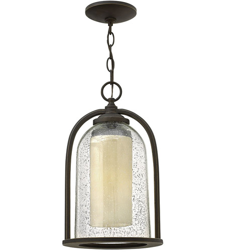 Hinkley 2612OZ Quincy 1 Light 9 inch Oil Rubbed Bronze Outdoor Hanging Lantern in Incandescent, Seedy Outer Glass photo