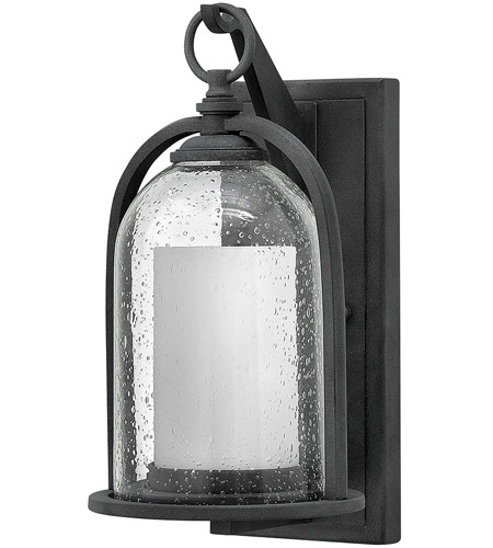 Hinkley 2614DZ-LED Quincy LED 14 inch Aged Zinc Outdoor Wall Mount, Seedy Outer Glass photo