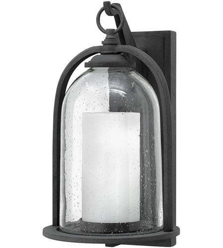 Hinkley 2615DZ-LED Quincy LED 17 inch Aged Zinc Outdoor Wall Mount, Seedy Outer Glass photo
