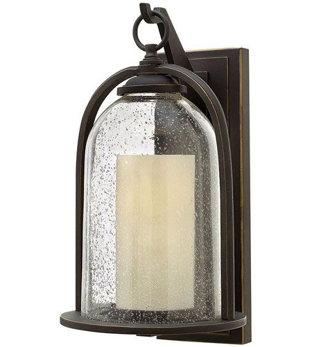Hinkley 2615OZ Quincy 1 Light 17 inch Oil Rubbed Bronze Outdoor Wall Mount in Incandescent, Seedy Outer Glass photo