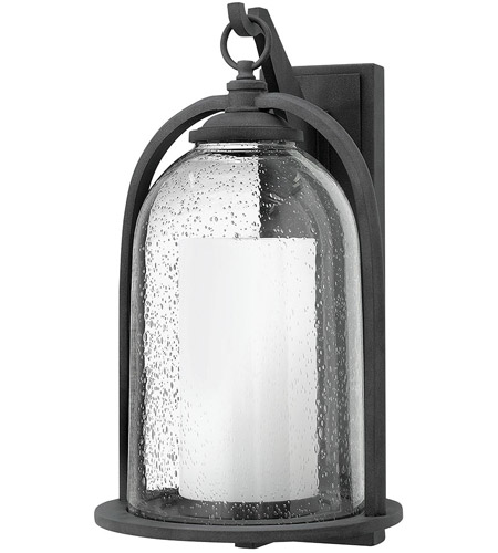 Hinkley 2618DZ Quincy 1 Light 20 inch Aged Zinc Outdoor Wall Mount in Incandescent, Seedy Outer Glass photo