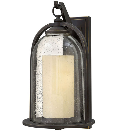 Hinkley 2618OZ Quincy 1 Light 20 inch Oil Rubbed Bronze Outdoor Wall Mount in Incandescent, Clear Seedy and Amber Glass photo