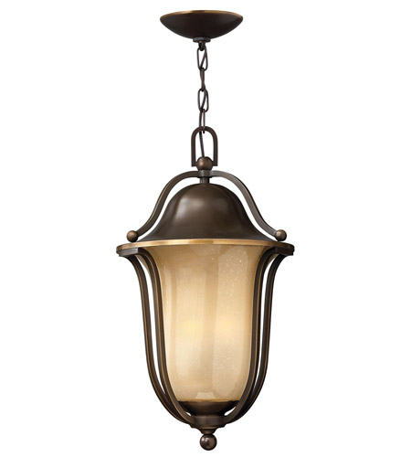 Hinkley 2632OB-GU24 Bolla 1 Light 11 inch Olde Bronze Outdoor Hanging in Light Amber Seedy, GU24 photo