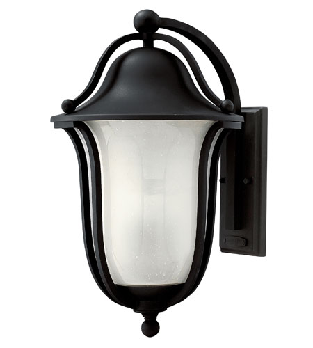 Hinkley 2635BK-GU24 Bolla 1 Light 19 inch Black Outdoor Wall in Clear Seedy Etched Inside, GU24 photo