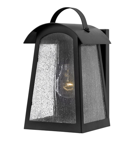 Hinkley 2650BK Putney Bridge 1 Light 11 inch Black Outdoor Wall, Seedy Glass photo