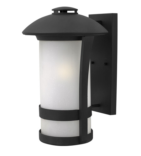 Hinkley 2705BK-LED Chandler 1 Light 17 inch Black Outdoor Wall Lantern in LED, Etched Seedy Glass photo