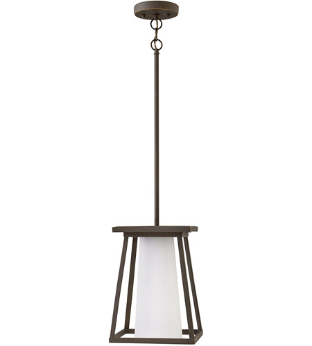 Hinkley 2792OZ Burke 1 Light 9 inch Oil Rubbed Bronze Outdoor Hanging Light in Etched Opal photo