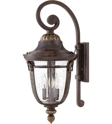 Hinkley 2905RB Key West 3 Light 27 inch Regency Bronze Outdoor Wall Mount in Incandescent, Clear ...