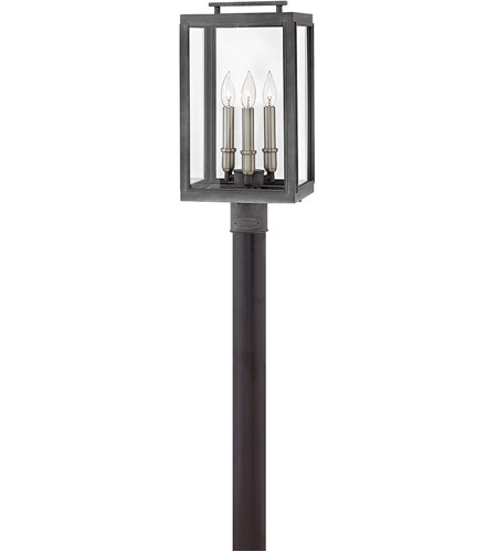 Hinkley 2911DZ Sutcliffe 3 Light 20 inch Aged Zinc Outdoor Post Mount in Candelabra photo