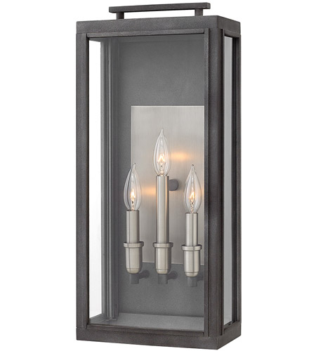 Hinkley 2915DZ Sutcliffe 3 Light 22 inch Aged Zinc Outdoor Wall Mount in Candelabra photo