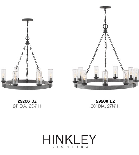 Hinkley 29206DZ Sawyer 6 Light 24 inch Aged Zinc Outdoor Chandelier in Incandescent, Open Air alternative photo thumbnail