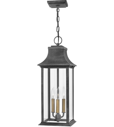 Hinkley 2932dz Adair 3 Light 9 Inch Aged Zinc Outdoor Hanging Light