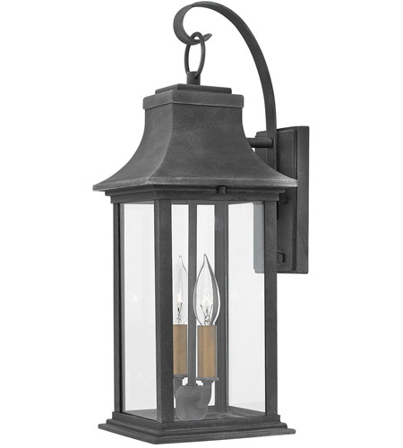 Hinkley 2934DZ Adair 2 Light 20 inch Aged Zinc Outdoor Wall Mount in Incandescent, Heritage photo