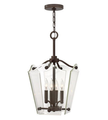Hinkley 3000OZ Wingate 4 Light 12 inch Oil Rubbed Bronze Foyer Pendant Ceiling Light, Clear Beveled Glass photo