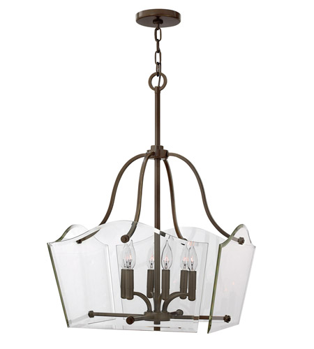 Hinkley 3004OZ Wingate 6 Light 2 inch Oil Rubbed Bronze Chandelier Ceiling Light, Clear Beveled Glass photo