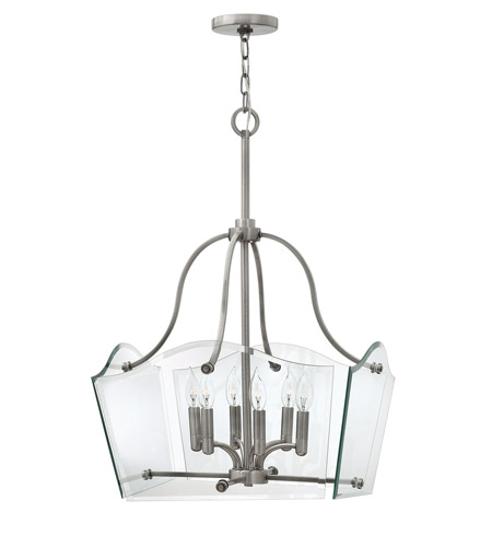 Hinkley 3004PL Wingate 6 Light 20 inch Polished Antique Nickel Chandelier Ceiling Light photo