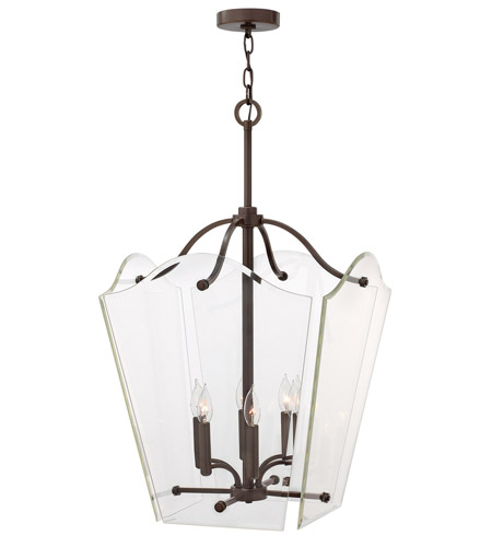 Hinkley 3008OZ Wingate 6 Light 20 inch Oil Rubbed Bronze Foyer Pendant Ceiling Light, Clear Beveled Glass photo