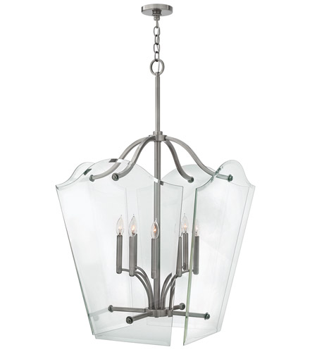 Hinkley 3009PL Wingate 8 Light 26 inch Polished Antique Nickel Foyer Pendant Ceiling Light, Clear Beveled Glass photo
