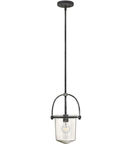 Hinkley 3031DZ Clancy 1 Light 10 inch Aged Zinc Foyer Pendant Ceiling Light, Clear Glass photo