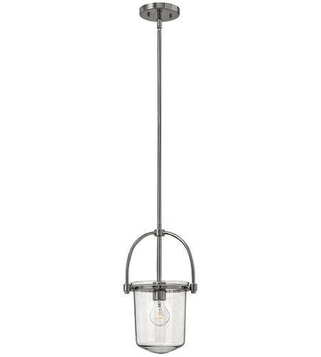 Hinkley 3031PN Clancy 1 Light 10 inch Polished Nickel Foyer Ceiling Light, Clear Glass photo