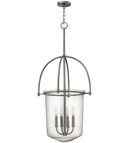 Hinkley 3034BN Clancy 4 Light 19 inch Brushed Nickel Foyer Light Ceiling Light, Clear Glass photo