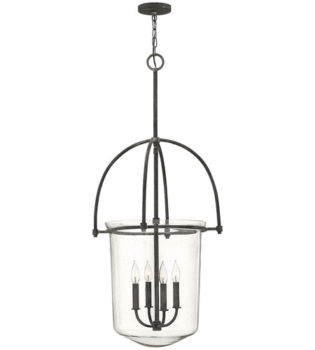 Hinkley 3034DZ Clancy 4 Light 19 inch Aged Zinc Foyer Ceiling Light, Clear Glass photo