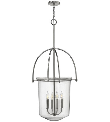 Hinkley 3034PN Clancy 4 Light 19 inch Polished Nickel Foyer Ceiling Light, Clear Glass photo