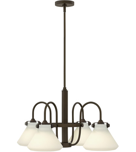 Hinkley 3040OZ Congress 4 Light 26 inch Oil Rubbed Bronze Chandelier Ceiling Light, Retro Glass photo