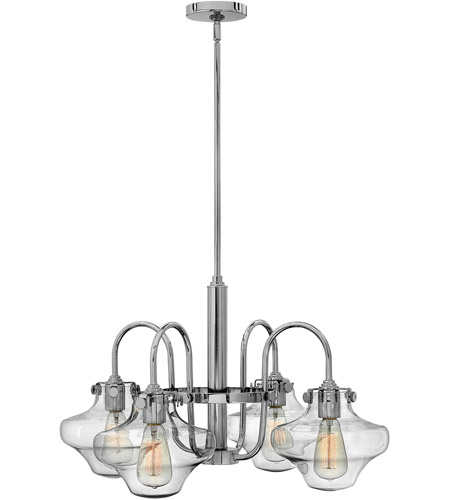 Hinkley 3041CM Congress 4 Light 27 inch Chrome Chandelier Ceiling Light, Retro Glass photo