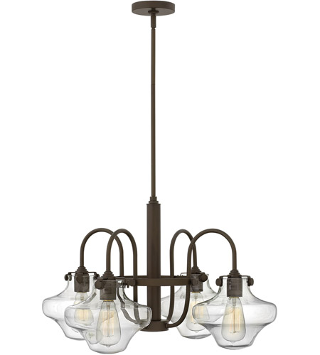 Hinkley 3041OZ Congress 4 Light 27 inch Oil Rubbed Bronze Chandelier Ceiling Light, Retro Glass photo