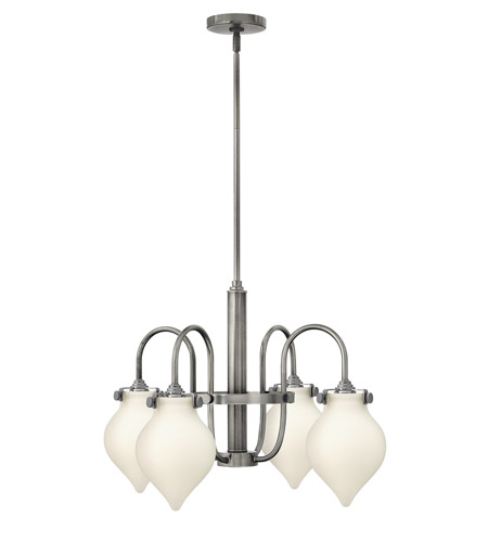 Hinkley 3042AN Congress 4 Light 25 inch Antique Nickel Chandelier Ceiling Light, Retro Glass photo