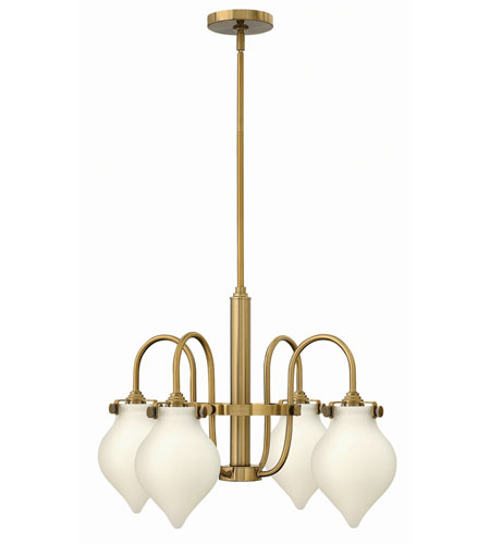 Hinkley 3042BC Congress 4 Light 25 inch Brushed Caramel Chandelier Ceiling Light, Retro Glass photo