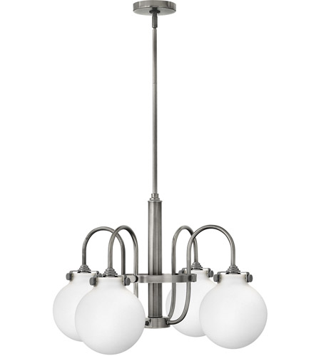 Hinkley 3043AN Congress 4 Light 26 inch Antique Nickel Chandelier Ceiling Light, Retro Glass photo