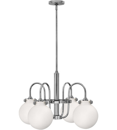 Hinkley 3043CM Congress 4 Light 26 inch Chrome Chandelier Ceiling Light, Retro Glass photo