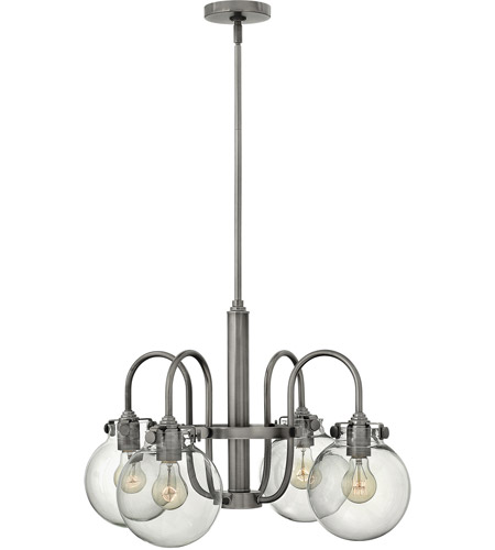 Hinkley Lighting Congress 4 Light Chandelier in Antique Nickel 3044AN