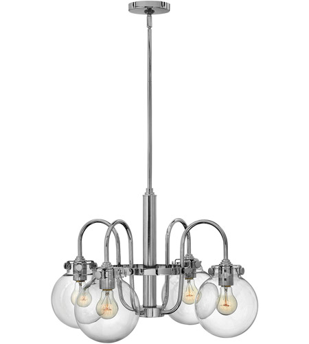 Hinkley 3044CM Congress 4 Light 26 inch Chrome Chandelier Ceiling Light, Retro Glass photo