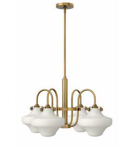 Hinkley 3045BC Congress 4 Light 27 inch Brushed Caramel Chandelier Ceiling Light, Retro Glass photo