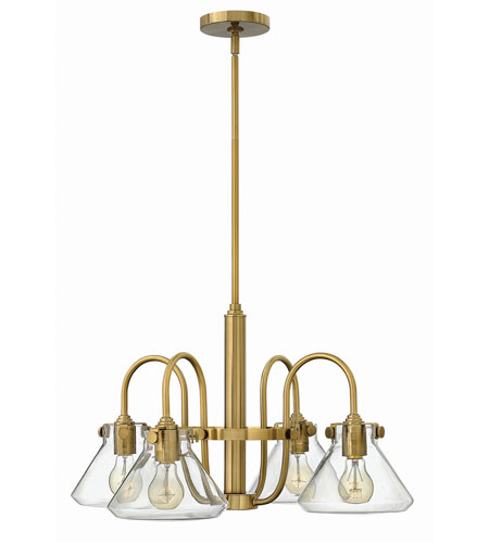 Hinkley 3046BC Congress 4 Light 26 inch Brushed Caramel Chandelier Ceiling Light, Retro Glass photo
