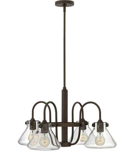Hinkley 3046OZ Congress 4 Light 26 inch Oil Rubbed Bronze Chandelier Ceiling Light, Retro Glass photo