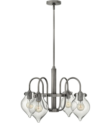 Hinkley 3047AN Congress 4 Light 25 inch Antique Nickel Chandelier Ceiling Light, Retro Glass photo