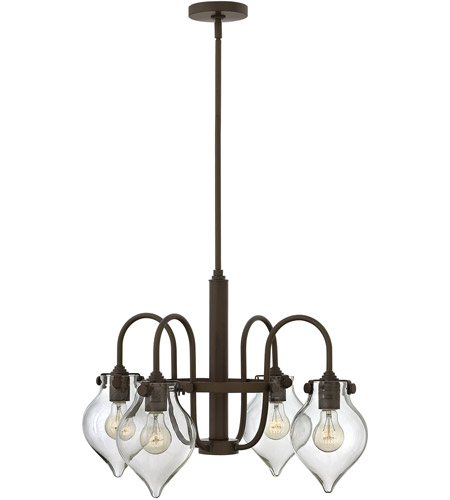 Hinkley 3047OZ Congress 4 Light 25 inch Oil Rubbed Bronze Chandelier Ceiling Light, Retro Glass photo