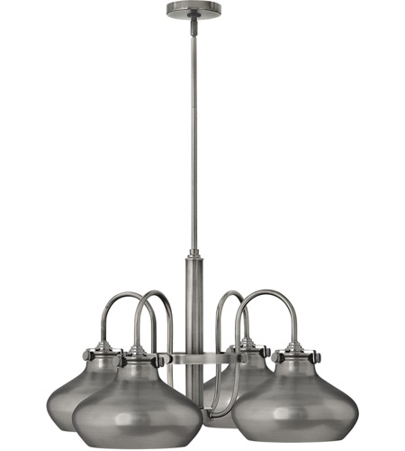 Hinkley 3048AN Congress 4 Light 28 inch Antique Nickel Chandelier Ceiling Light, Retro Glass photo