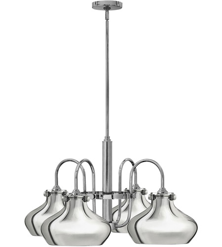 Hinkley 3048CM Congress 4 Light 28 inch Chrome Chandelier Ceiling Light, Retro Glass photo
