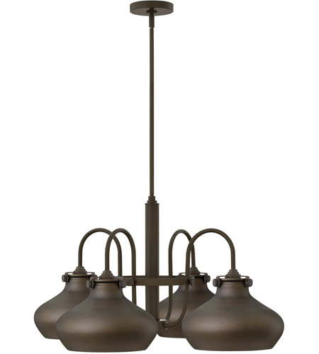 Hinkley 3048OZ Congress 4 Light 28 inch Oil Rubbed Bronze Chandelier Ceiling Light, Retro Glass photo